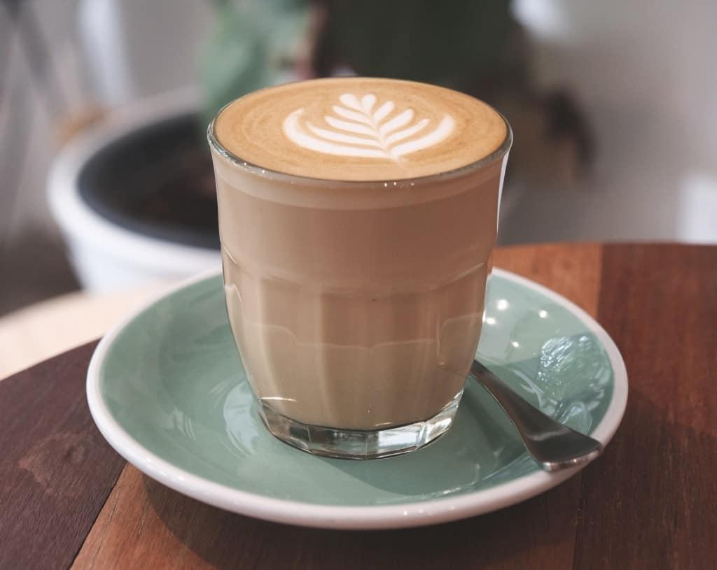 Latte in glass