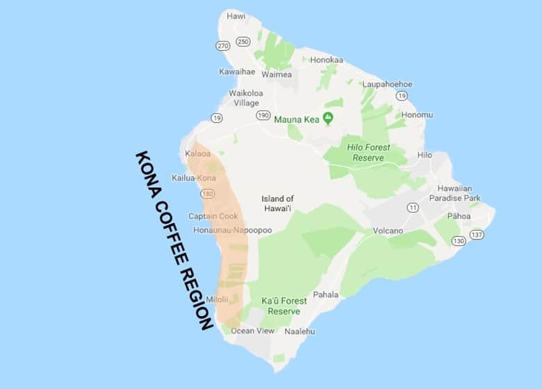 Kona Coffee District Hawaii Map