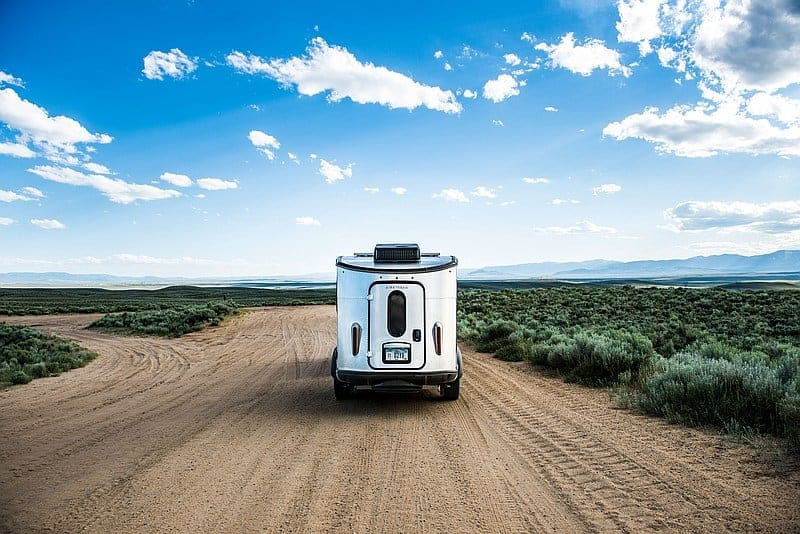 Airstream camper with rv accessories