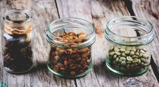 Jars of coffee beans - best coffee roaster for home use