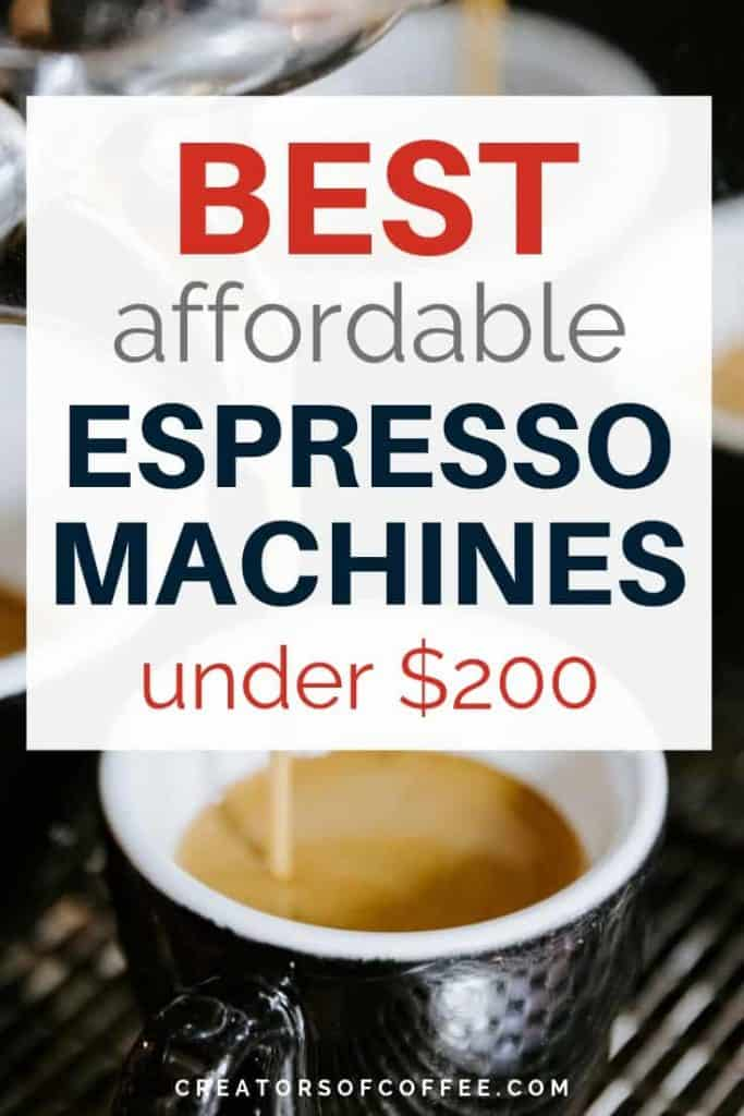 Closeup of cup with text overlay - best espresso machine cheap
