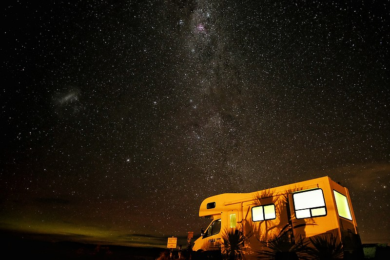 RV under night sky - with the best RV gadgets