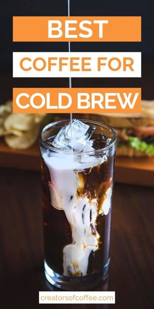 glass of cold brew coffee with text best coffee for cold brew in orange