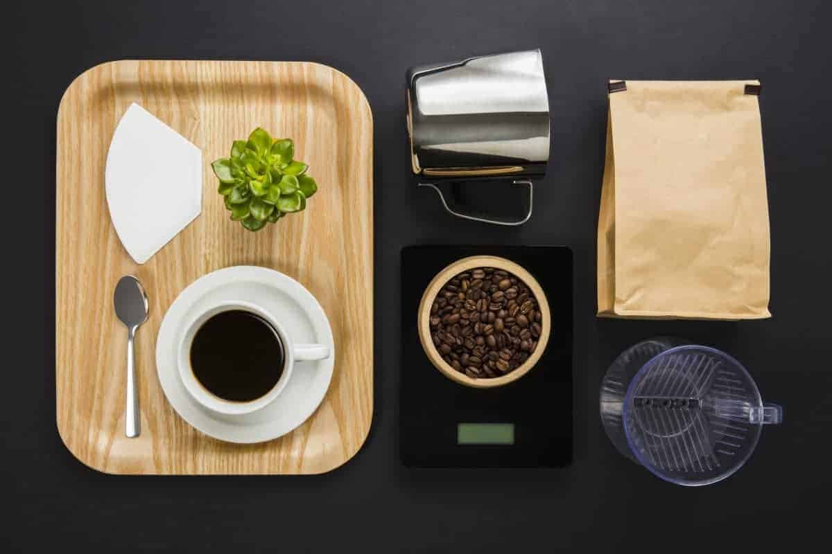 coffee flat lay - best coffee scale