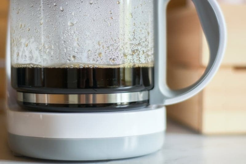 Close up of pourover coffee machine carafe