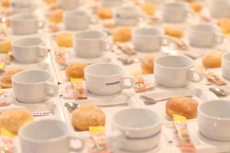 table of white coffee cups