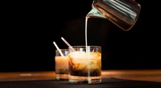 Close up of white russian coffee cocktail