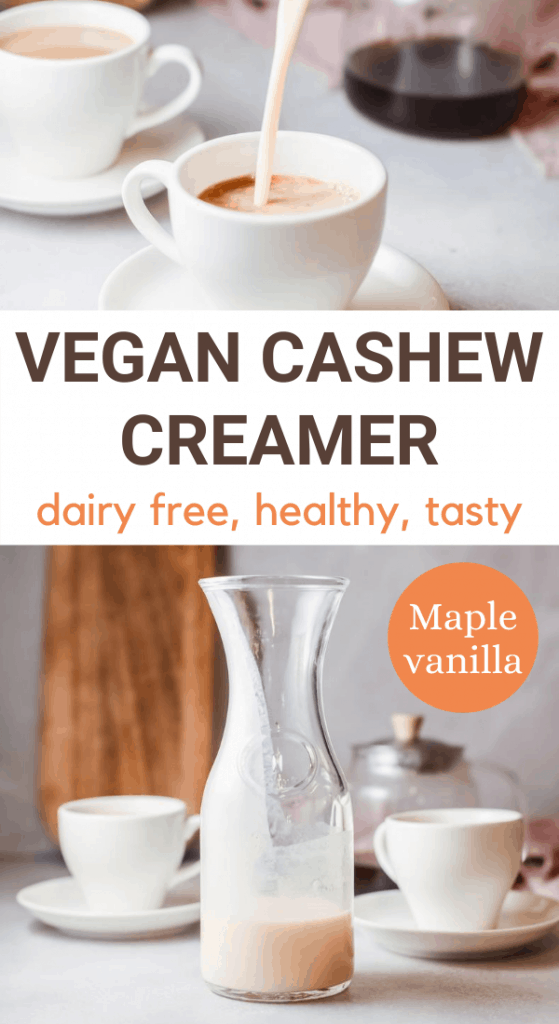 Images of vegan coffee creamer with text overlay vegan cashew creamer