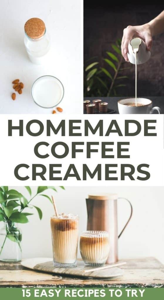 coffee creamers in jugs with text overlay homemade coffee creamers