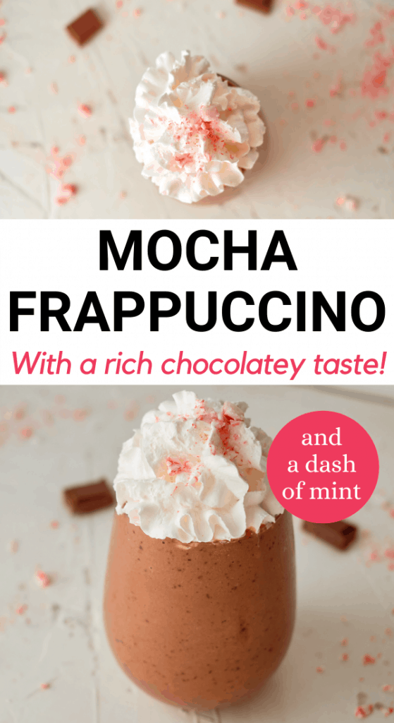 2 Closeup images of a copycat starbucks mocha frappuccino recipe