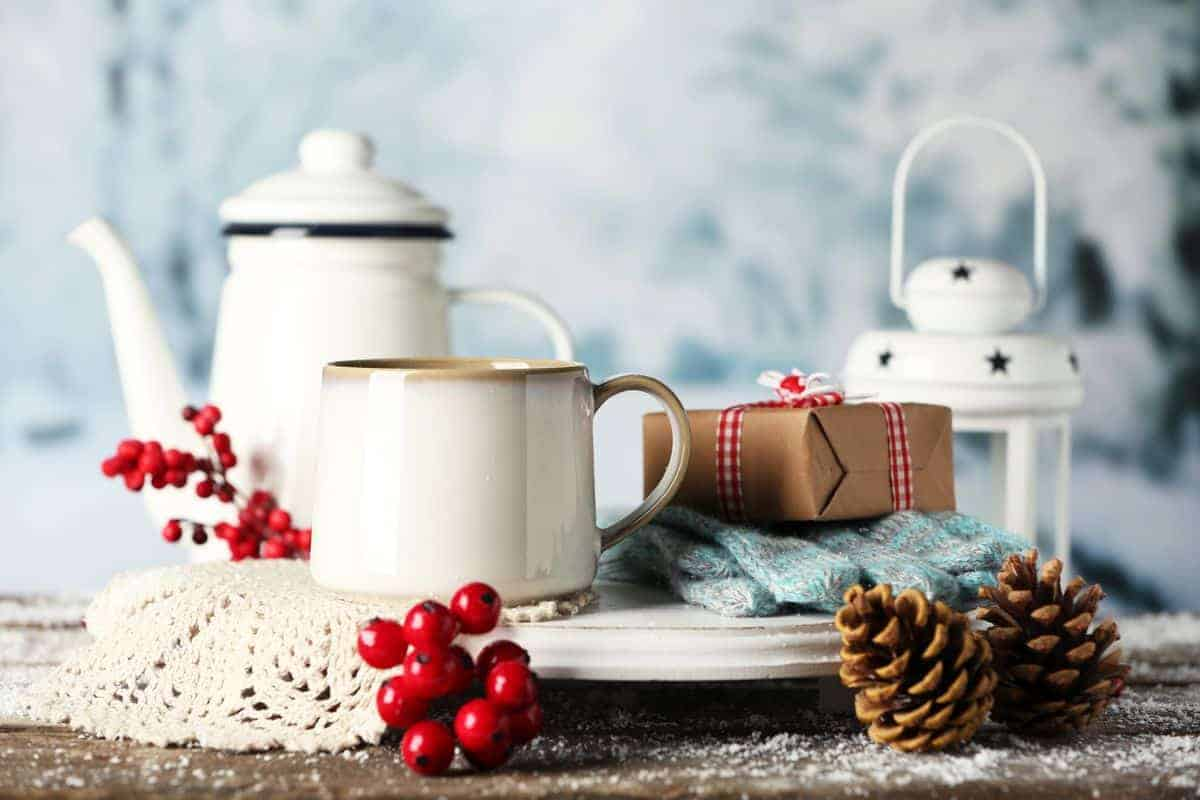 Winter coffee composition with hot coffee drinks and gifts