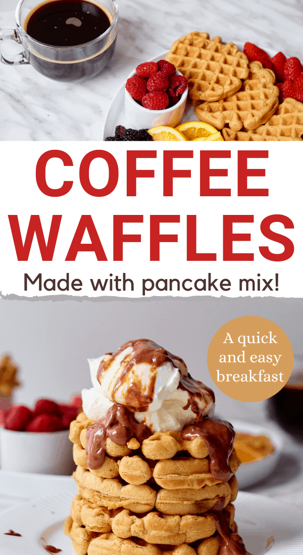 aunt jemima waffles with text overlay coffee waffles made with pancake mix