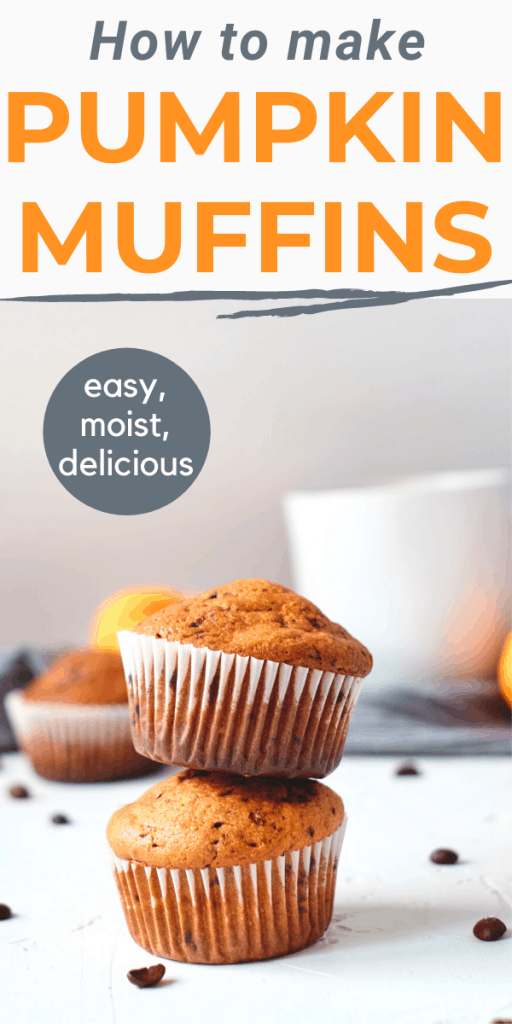 pumpkin yoghurt muffins with text overlay how to make pumpkin muffins