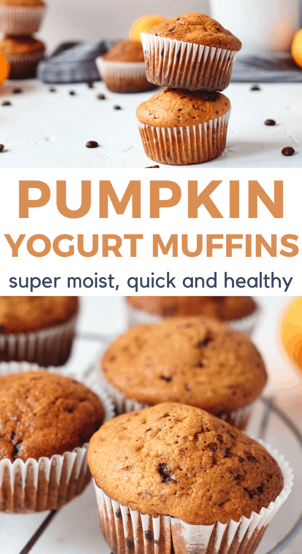 2 images of healthy pumpkin muffins with text overlay Pumpkin Yogurt Muffins