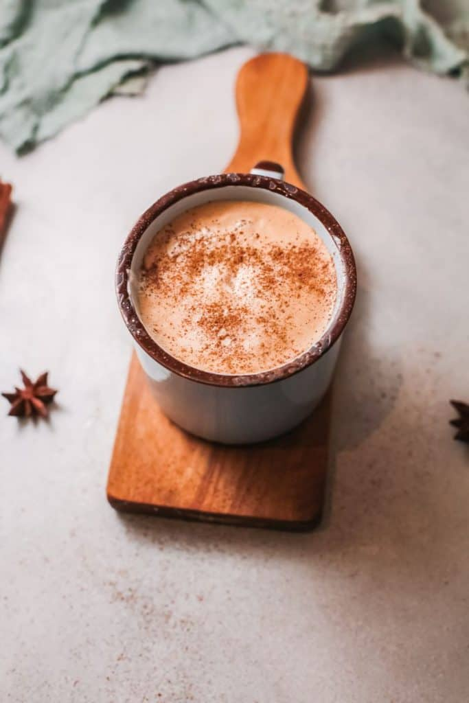 homemade pumpkin latte on board