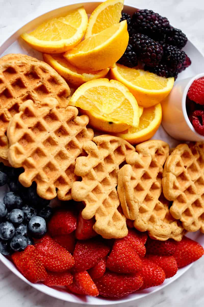 waffles and fruit in platter