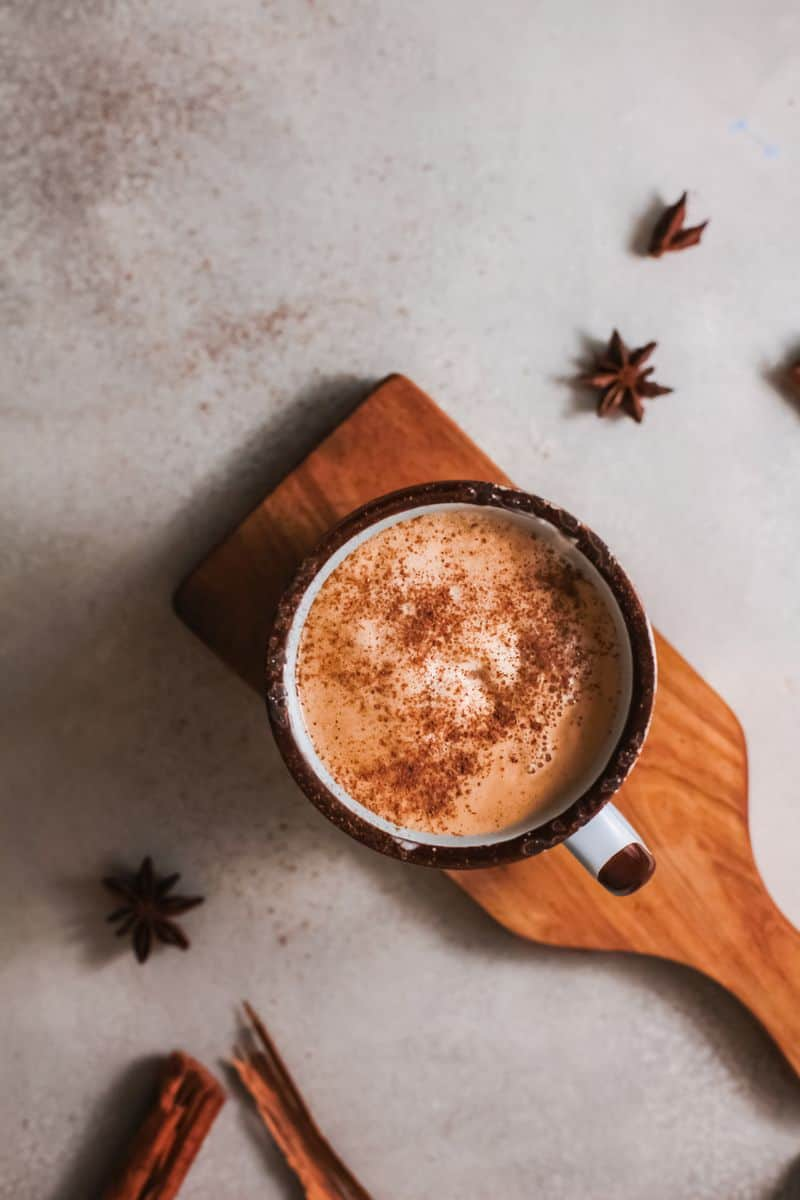 spiced pumpkin latte on table
