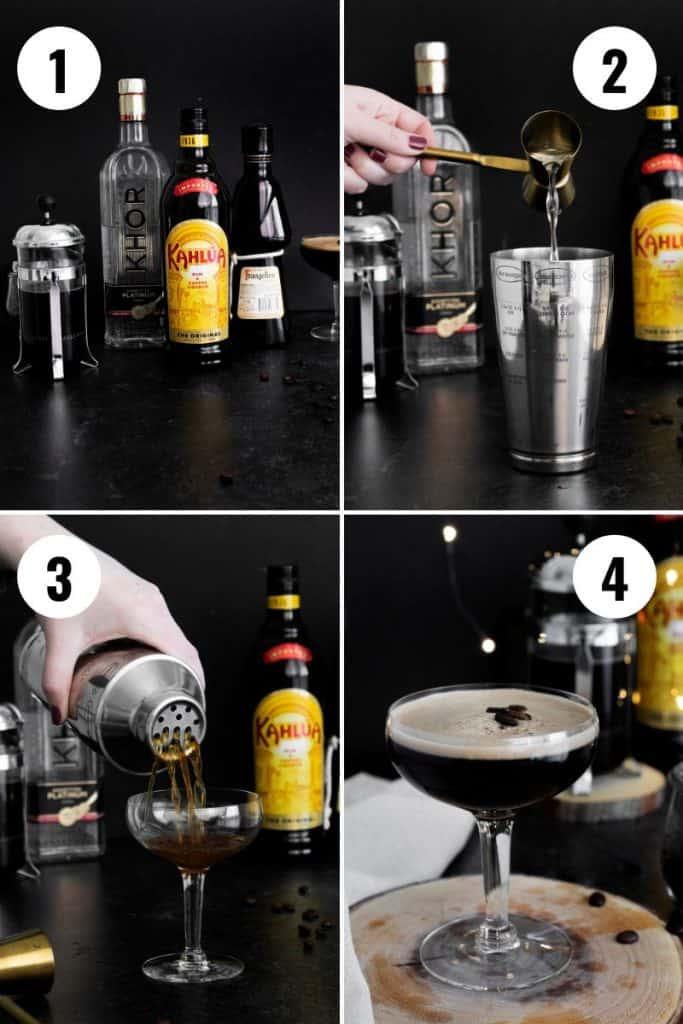 Steps to make a hazelnut espresso martini recipe