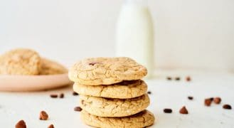 4 mocha chocolate chip cookies sitting on top of each other