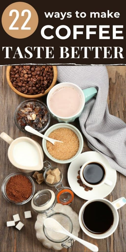 Flatlay image of cups of coffee and ingredients to make coffee taste better