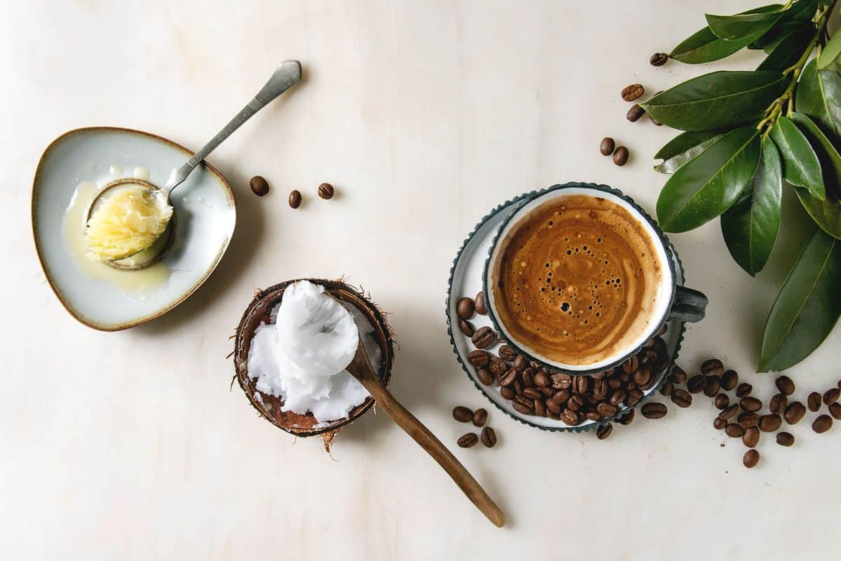 cup of coffee with butter and coconut oil.
