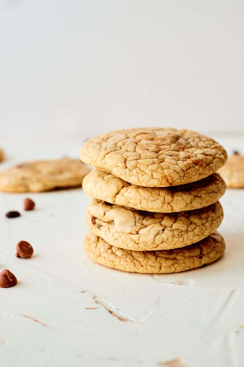 Pile of mocha chip cookies on bench