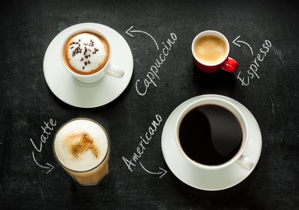 different types of coffee drinks on black background
