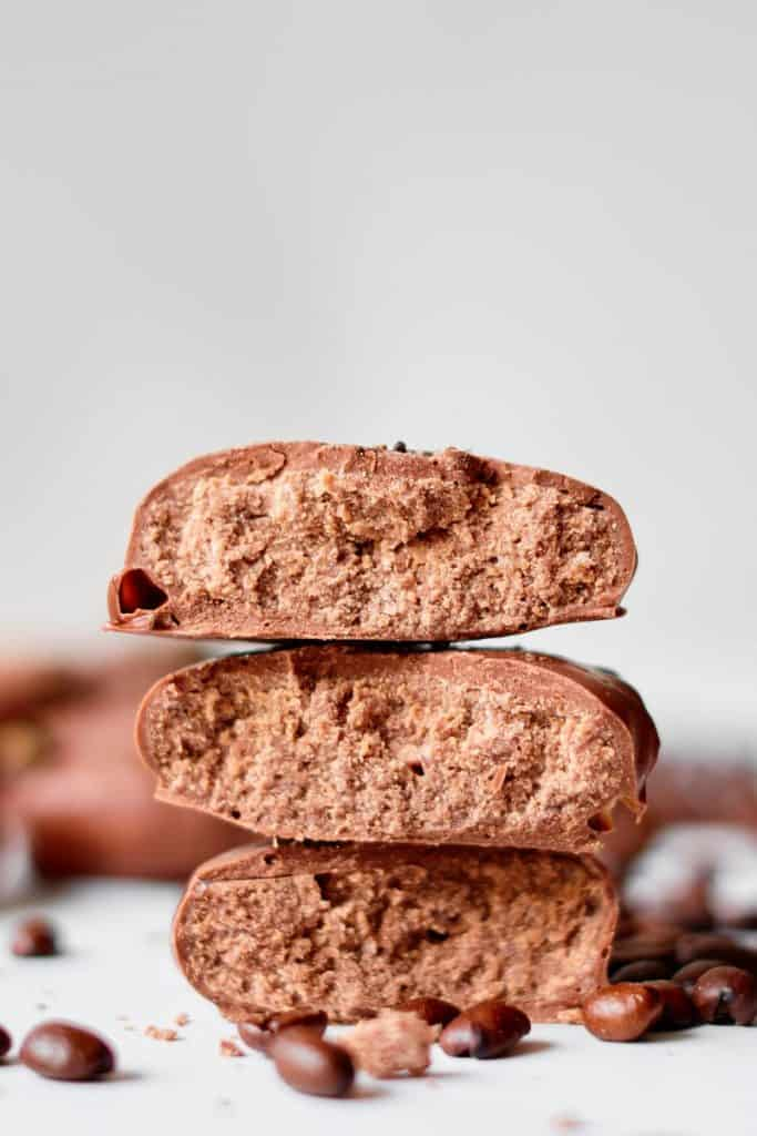 Inside of chocolate truffles using condensed milk.