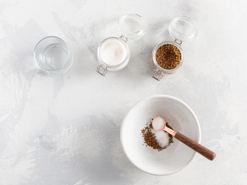 Korean dalgona coffee drink ingredients on table