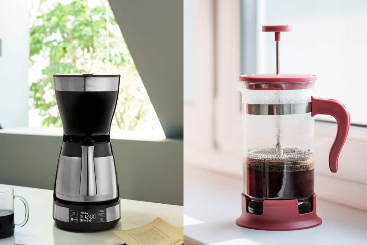 Images of filter coffee machine and coffee press side by side.
