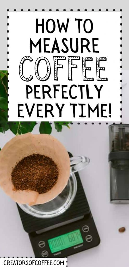 pour over coffee filter on coffee scale with timer with text overlay how to measure coffee perfectly every time.