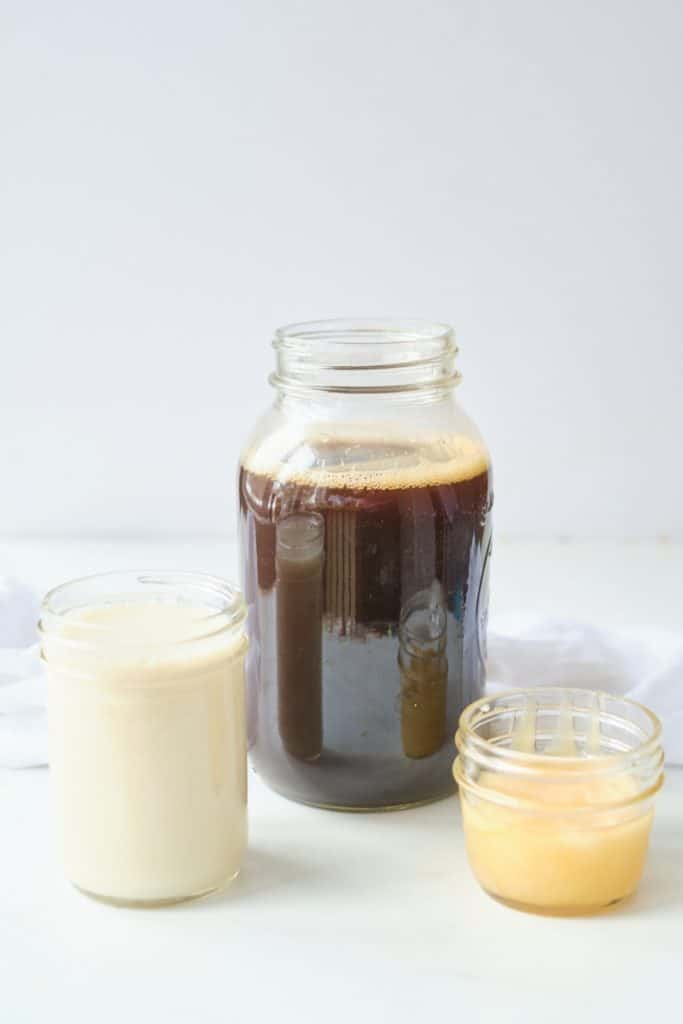 almond milk cold coffee ingredients - coffee, almond milk and honey
