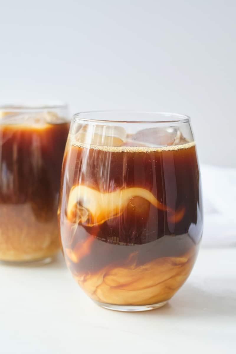 cold brew honey almond milk in glass.