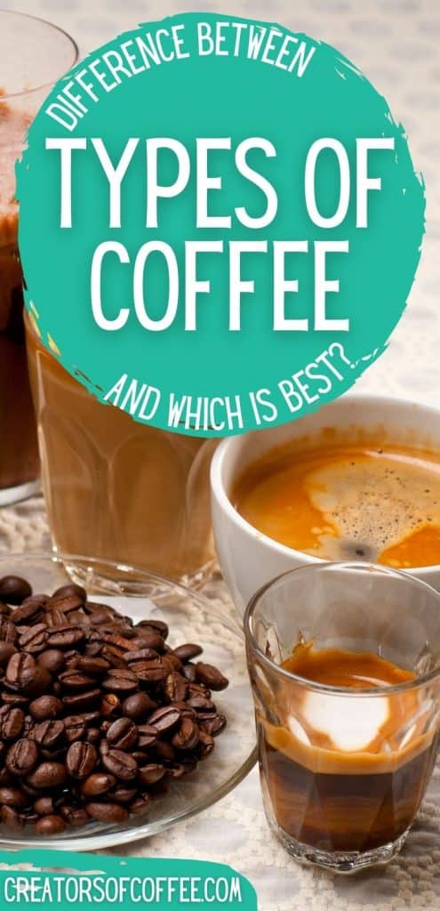 different cups of coffee with text difference between types of coffee