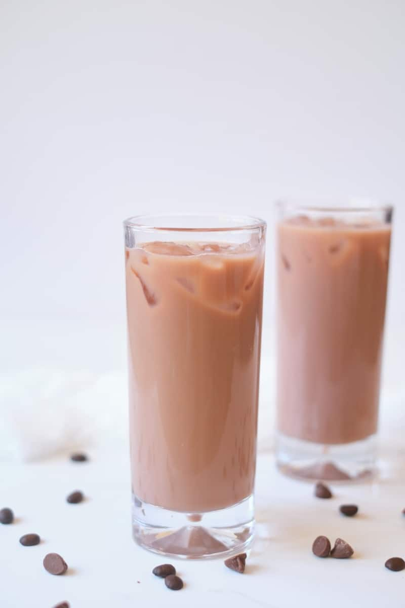 iced coffee chocolate milk in tall glasses.