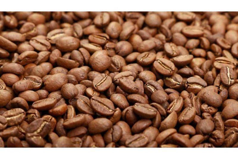 Arabica Coffee beans closeup.