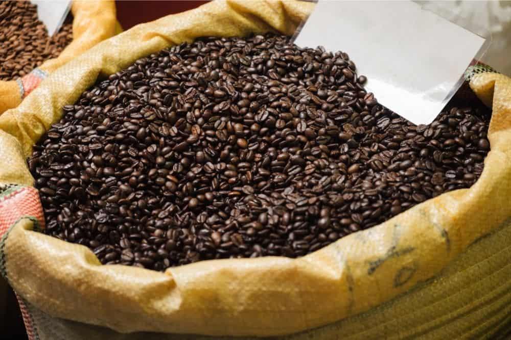 Dark Roast coffee beans in bag