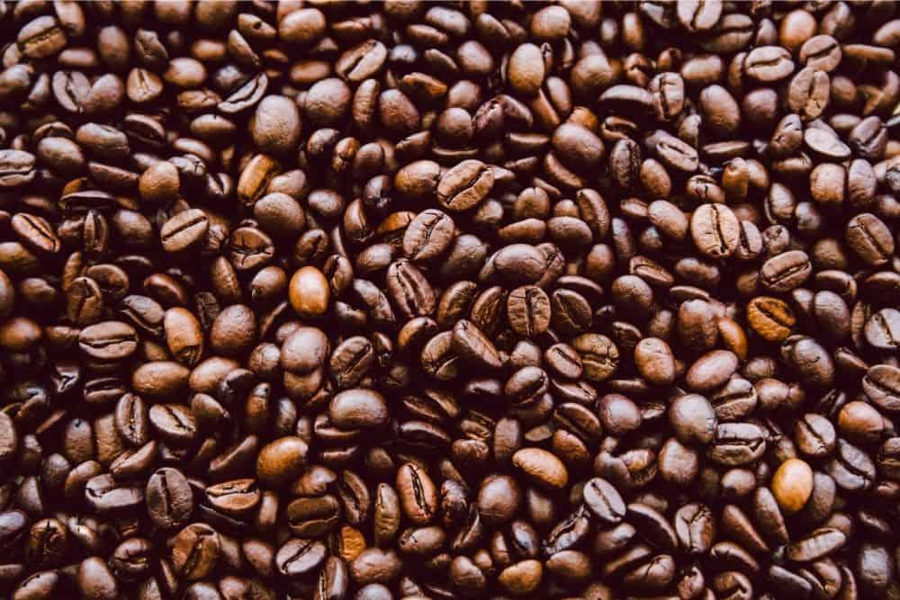 Closeup of double roast coffee beans