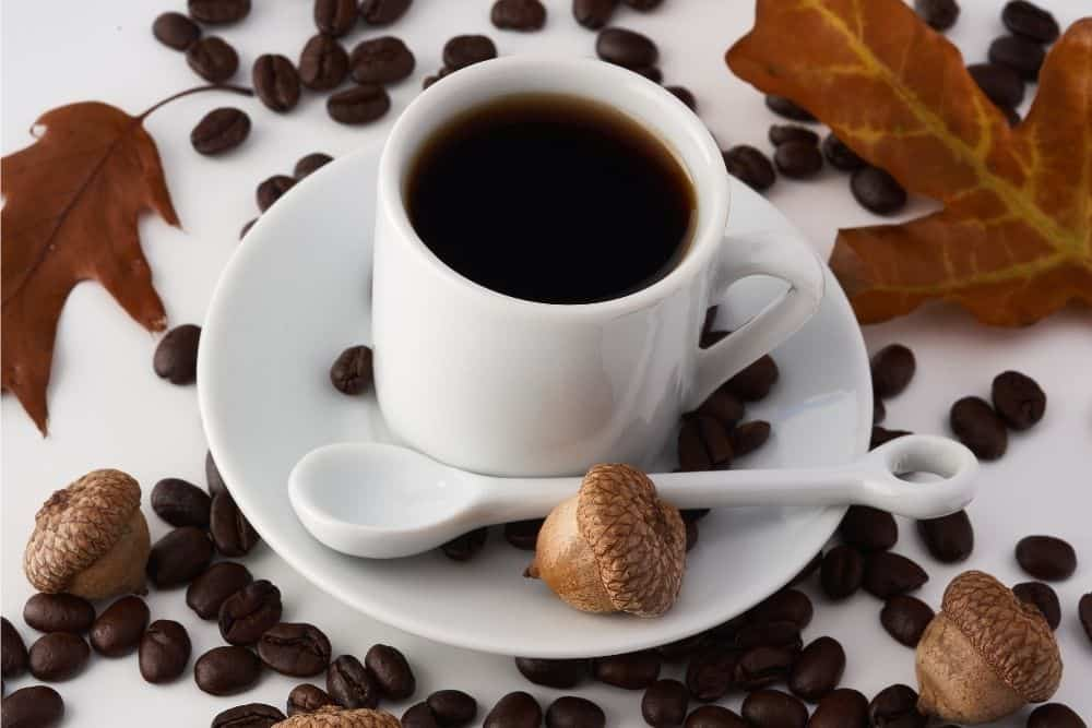 cup of black coffee drink in white coffee cup
