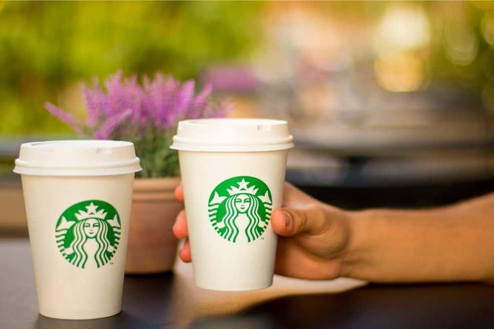 Starbucks coffee drinks on table