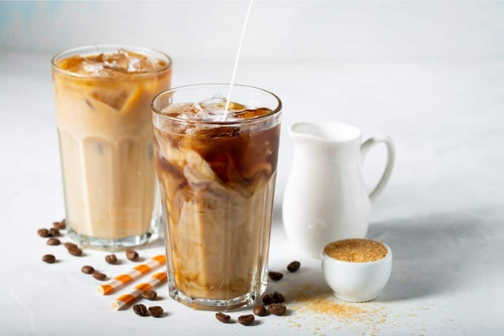 two glasses of iced coffees