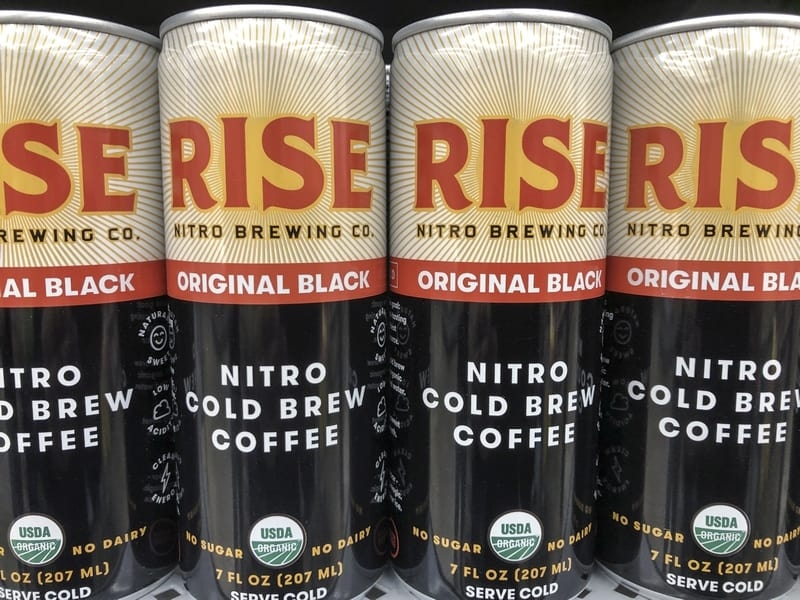 Rise canned nitro cold brew coffee.