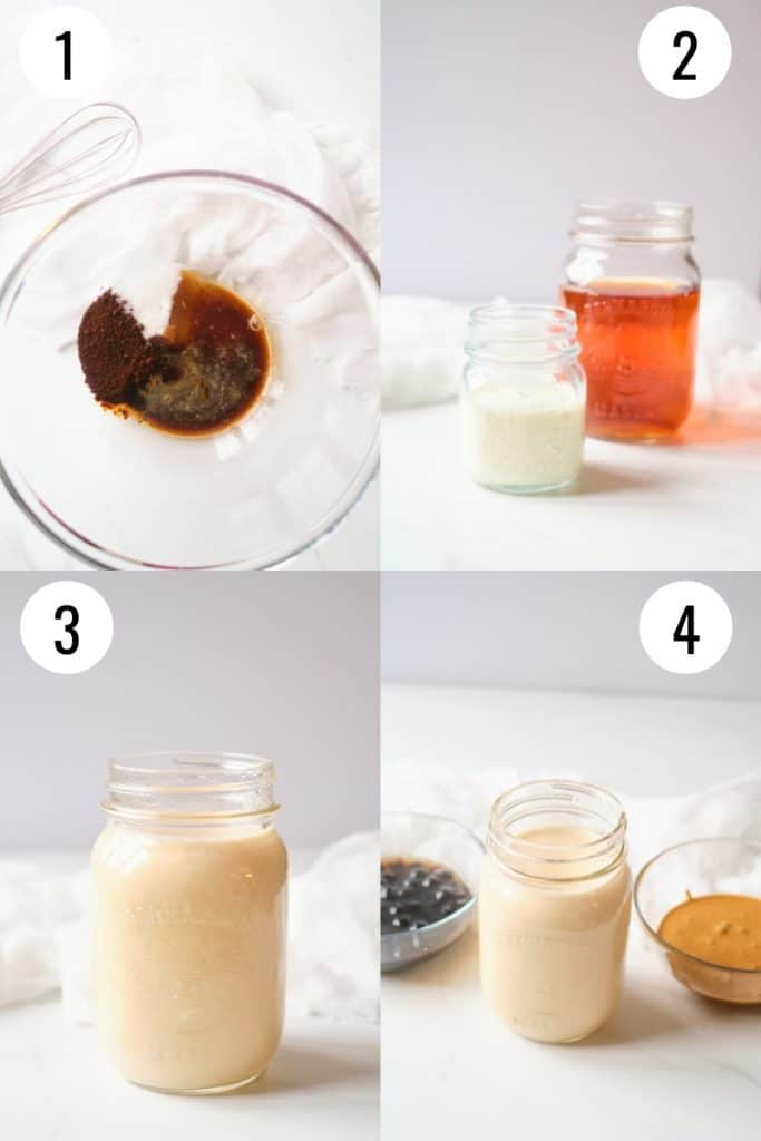 4 process shots showing how to make boba coffee at home.