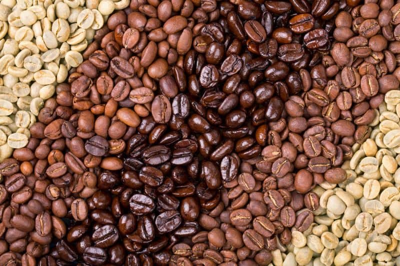 Different coffee bean roasts lined up together from green to dark roast.