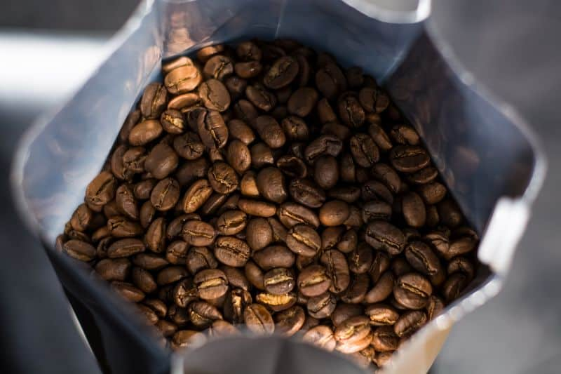 Bag of coffee beans roasted