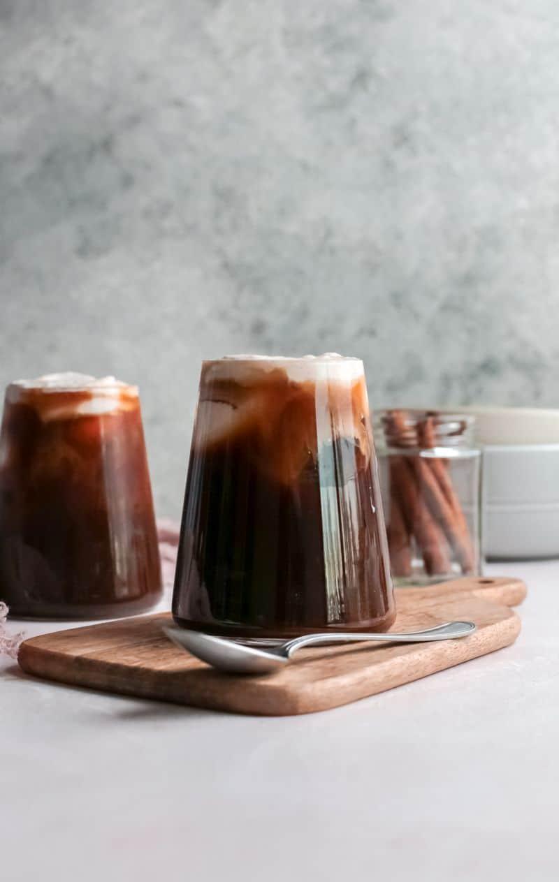 Glass of pumpkin cream cold brew coffee