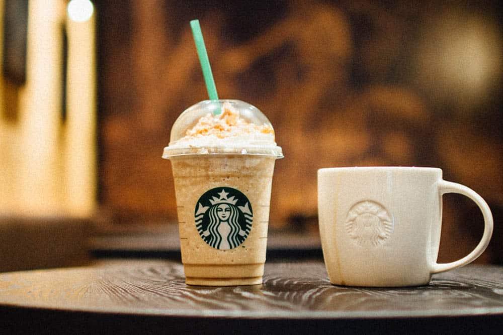 coffee frappuccino Starbucks on table