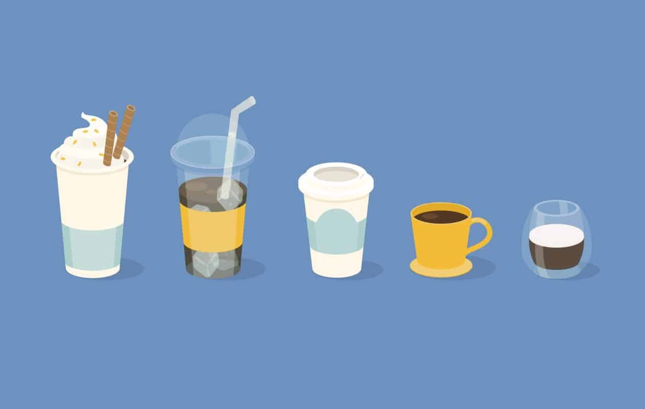 Illustrated coffee drinks on blue background