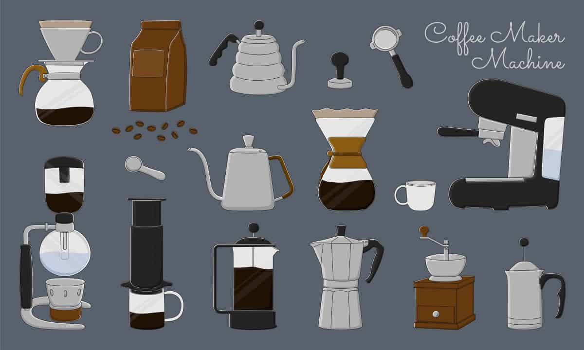 illustration of different types of coffee makers.