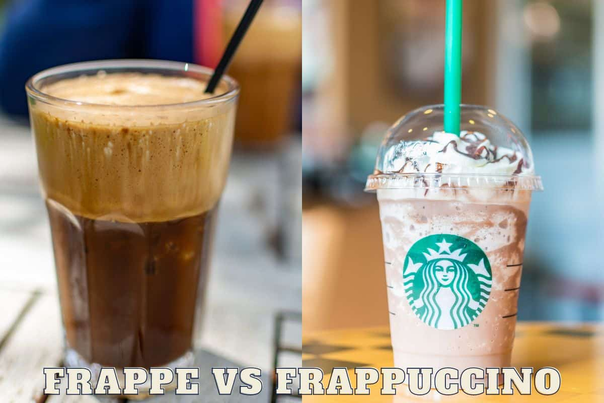 Greek frappe coffee and Starbucks frappuccino with text frappe vs frappuccino.